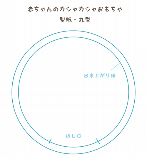 カシャカシャおもちゃ(タグハンカチ)の丸形型紙