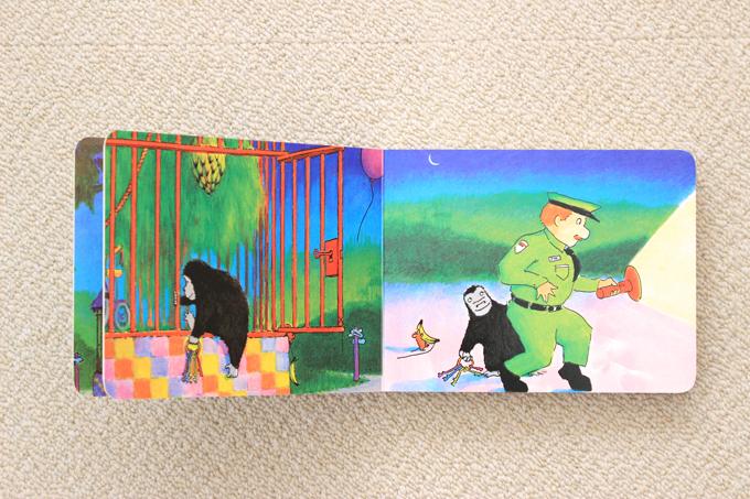 絵本good-night- gorillaでゴリラが檻を抜け出すところ