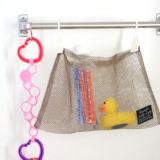 お風呂のおもちゃ収納は100均のネット「収納ポケット」がおすすめ