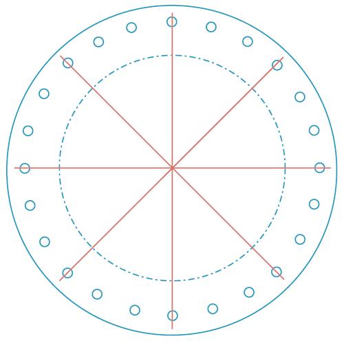 太鼓の合皮に穴をあける位置(8等分)