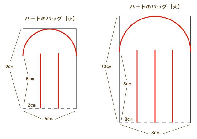 ハートバッグの寸法