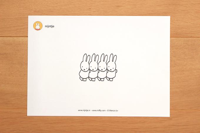 ミッフィーのキャラクター塗り絵をダウンロード印刷したもの