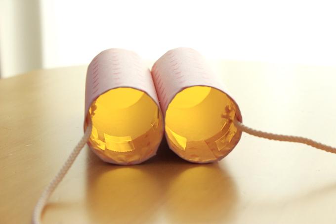 トイレットペーパーの芯の手作り双眼鏡をのぞいたところ