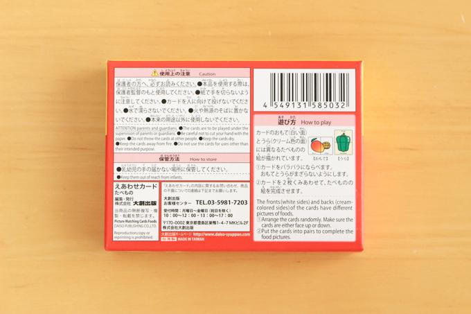 パッケージ裏面の説明書