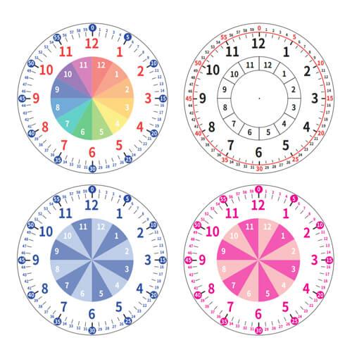 知育時計文字盤シートは、カラフル/シンプル/青/赤