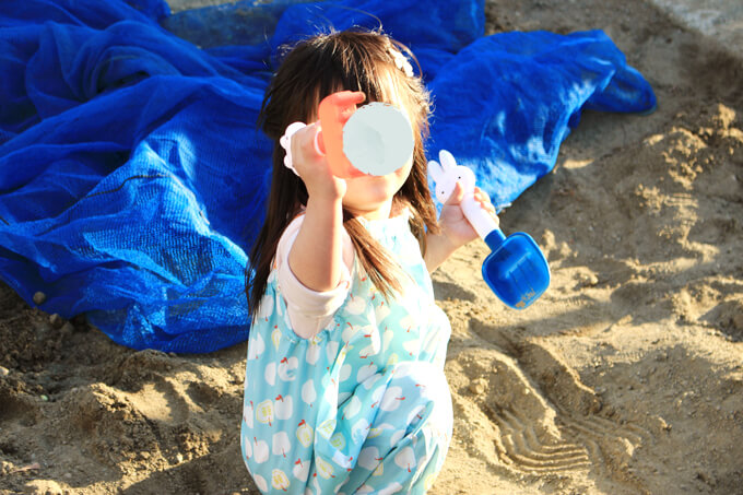 お砂場着で思いっきり遊べる
