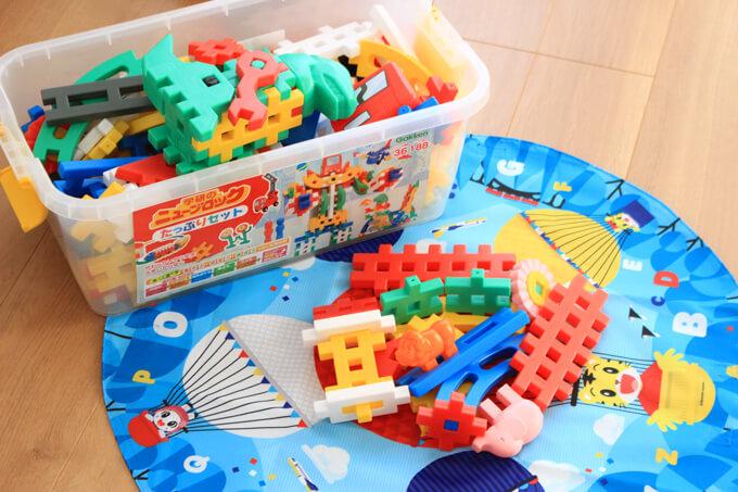 しまじろうのおかたづけマットはレゴなどの収納に便利
